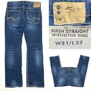 Silver Jeans Nash Straight Mens 31 x 32 Dark Wash